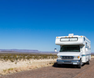 Class C motorohome in the desert.