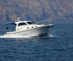 Boat cruising on the sea